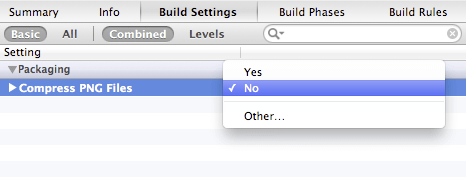 xcode no-compress